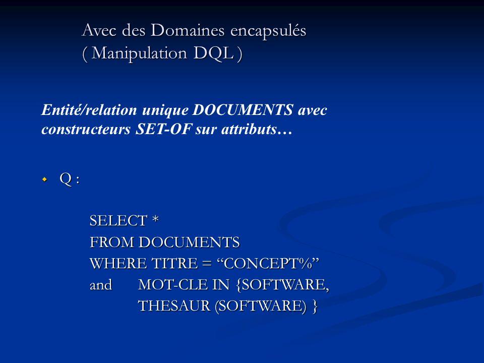 Avec des Domaines encapsulés ( Manipulation DQL ) Q : Q : SELECT * FROM DOCUMENTS WHERE TITRE = CONCEPT% andMOT-CLE IN {SOFTWARE, THESAUR (SOFTWARE) }