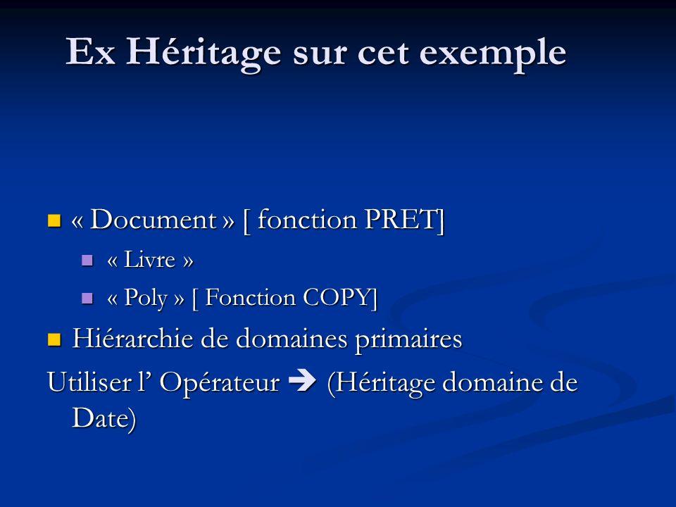 Ex Héritage sur cet exemple « Document » [ fonction PRET] « Document » [ fonction PRET] « Livre » « Livre » « Poly » [ Fonction COPY] « Poly » [ Fonction COPY] Hiérarchie de domaines primaires Hiérarchie de domaines primaires Utiliser l Opérateur (Héritage domaine de Date)
