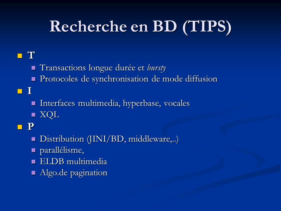 Recherche en BD (TIPS) T Transactions longue durée et bursty Transactions longue durée et bursty Protocoles de synchronisation de mode diffusion Proto