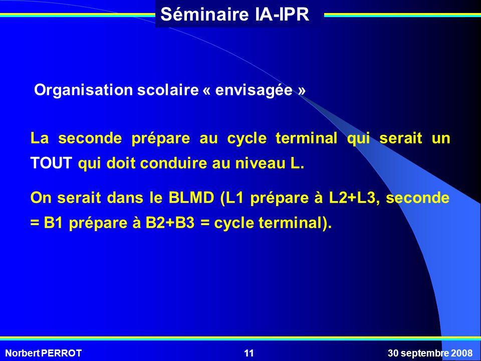 Norbert PERROT30 septembre 200811 Séminaire IA-IPR Organisation scolaire « envisagée » La seconde prépare au cycle terminal qui serait un TOUT qui doi
