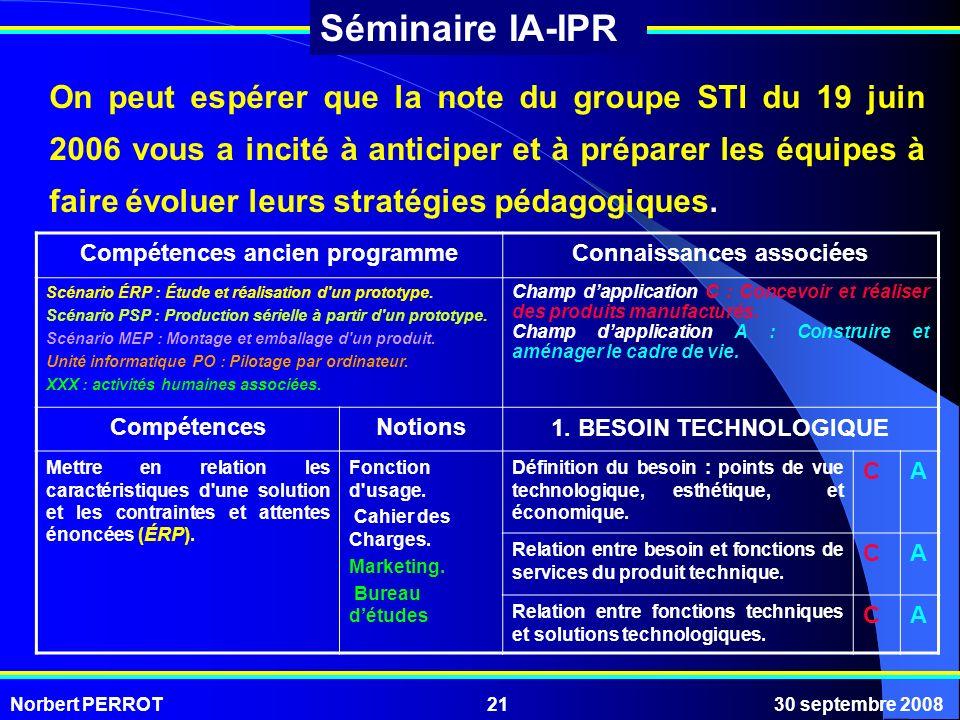 Norbert PERROT30 septembre 200821 Séminaire IA-IPR On peut espérer que la note du groupe STI du 19 juin 2006 vous a incité à anticiper et à préparer l
