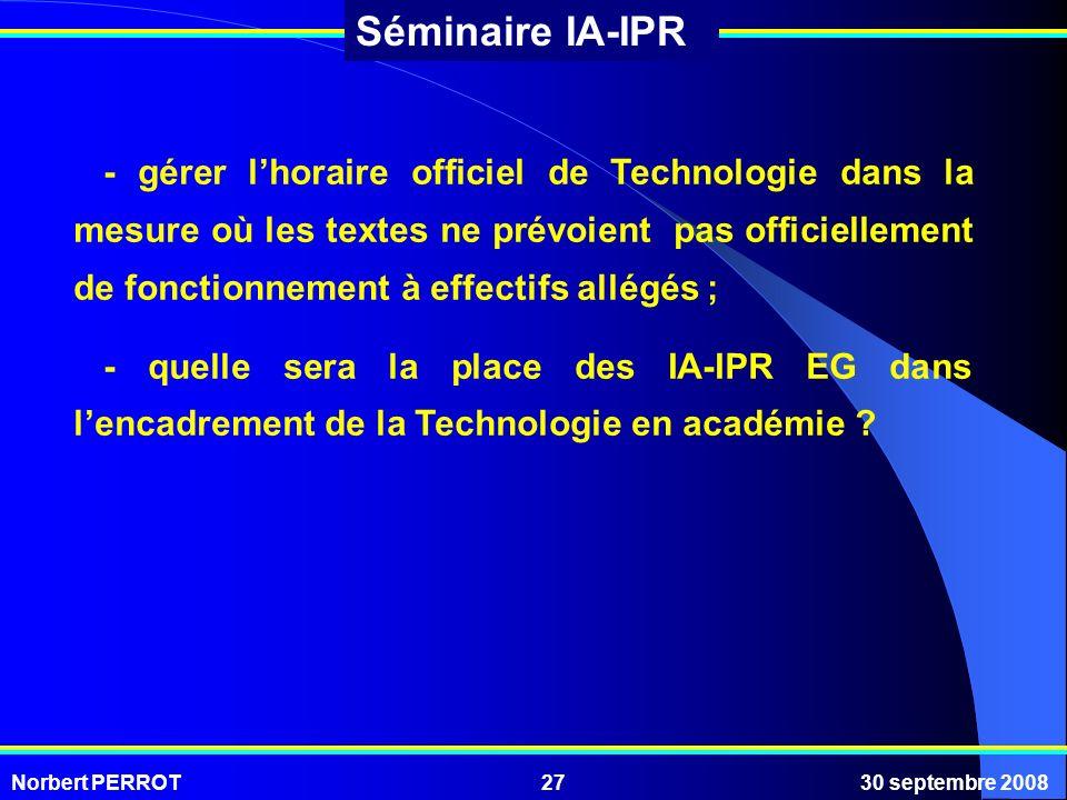 Norbert PERROT30 septembre 200827 Séminaire IA-IPR - gérer lhoraire officiel de Technologie dans la mesure où les textes ne prévoient pas officielleme