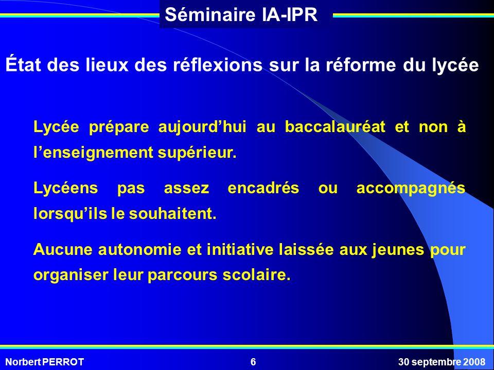 Norbert PERROT30 septembre 20086 Séminaire IA-IPR État des lieux des réflexions sur la réforme du lycée Lycée prépare aujourdhui au baccalauréat et no