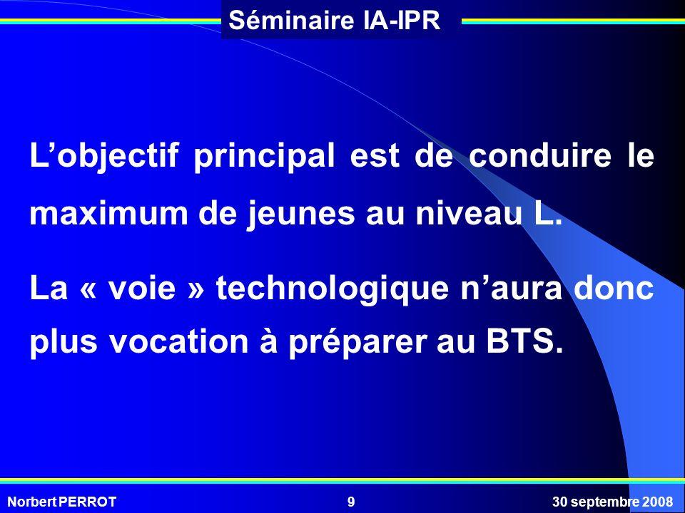Norbert PERROT30 septembre 20089 Séminaire IA-IPR Lobjectif principal est de conduire le maximum de jeunes au niveau L. La « voie » technologique naur