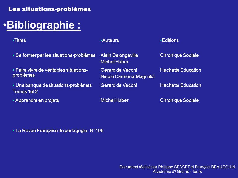 Les situations-problèmes Bibliographie : La Revue Française de pédagogie : N°106 Chronique SocialeMichel Huber Apprendre en projets Hachette Education