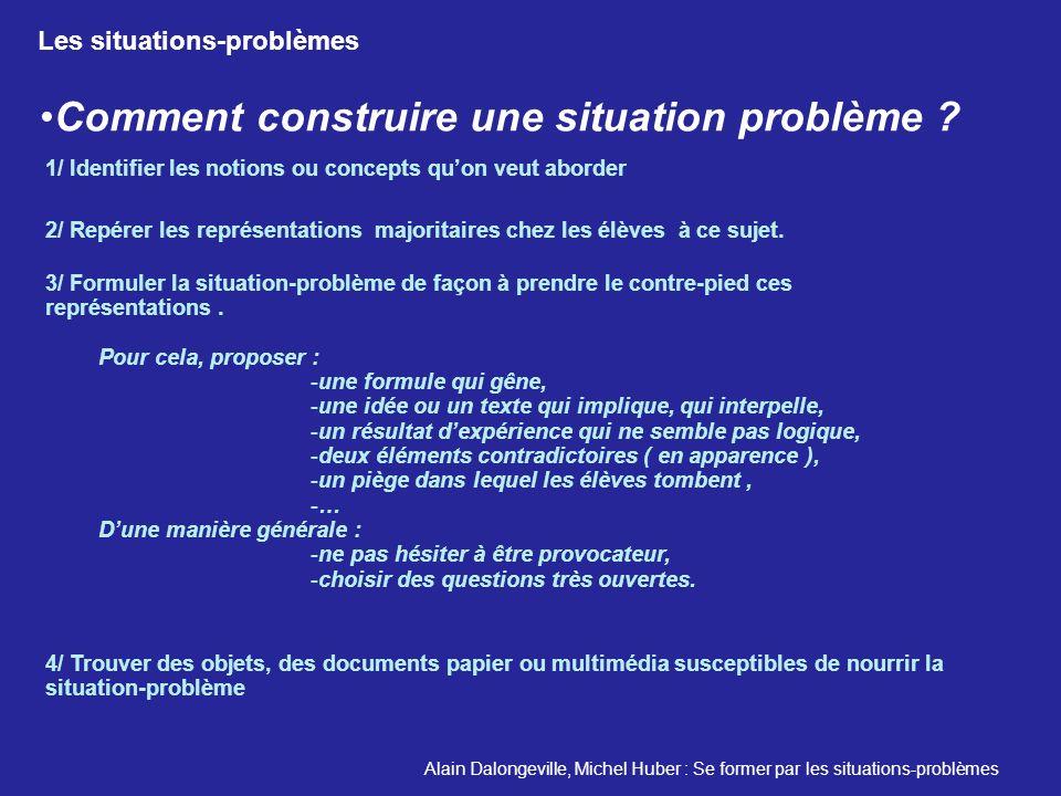 Comment construire une situation problème ? Pour cela, proposer : -une formule qui gêne, -une idée ou un texte qui implique, qui interpelle, -un résul