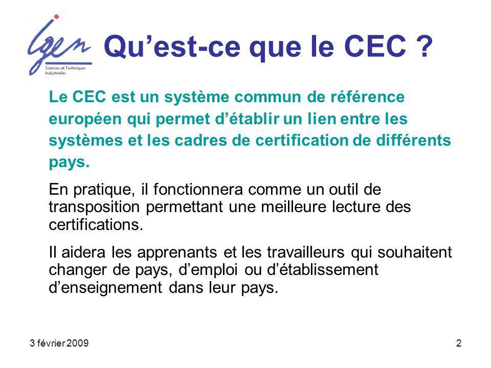 3 février 20092 Quest-ce que le CEC ? Le CEC est un système commun de référence européen qui permet détablir un lien entre les systèmes et les cadres