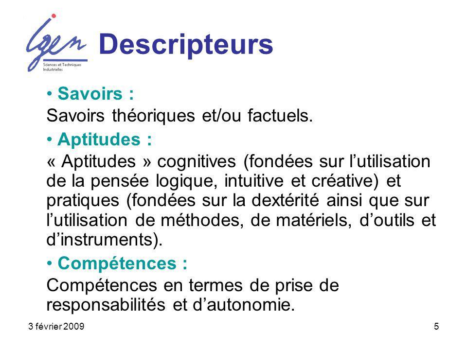 3 février 20095 Descripteurs Savoirs : Savoirs théoriques et/ou factuels. Aptitudes : « Aptitudes » cognitives (fondées sur lutilisation de la pensée