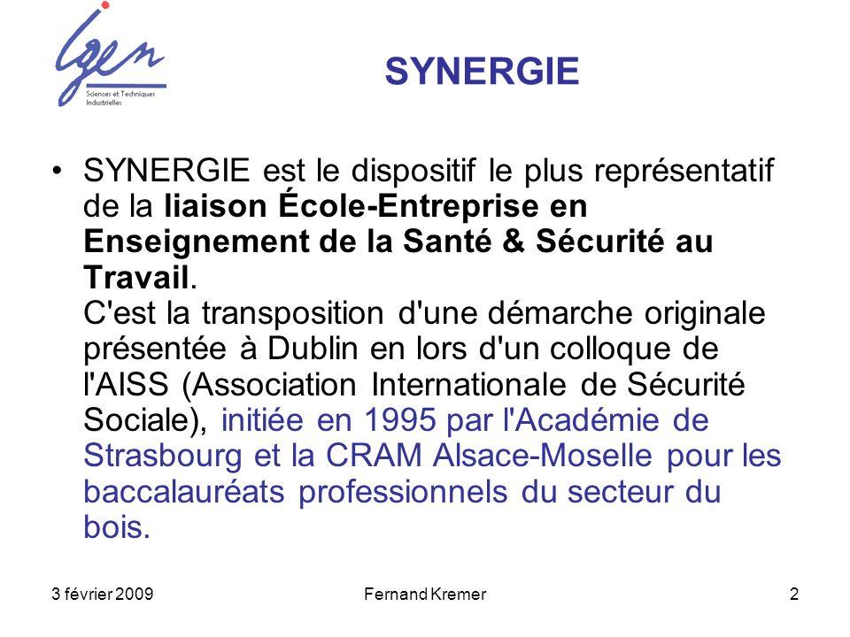 3 février 2009Fernand Kremer2 SYNERGIE est le dispositif le plus représentatif de la liaison École-Entreprise en Enseignement de la Santé & Sécurité a
