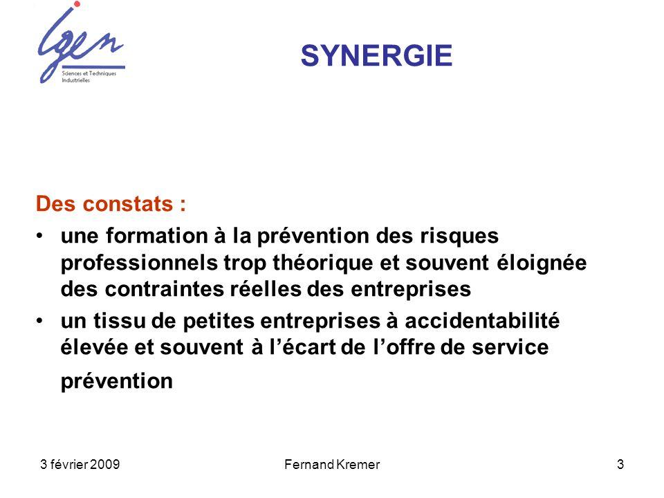 3 février 2009Fernand Kremer3 Des constats : une formation à la prévention des risques professionnels trop théorique et souvent éloignée des contraint