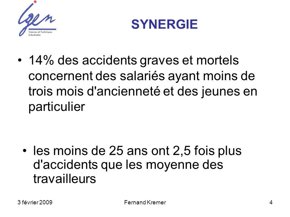 3 février 2009Fernand Kremer4 14% des accidents graves et mortels concernent des salariés ayant moins de trois mois d ancienneté et des jeunes en particulier SYNERGIE les moins de 25 ans ont 2,5 fois plus d accidents que les moyenne des travailleurs