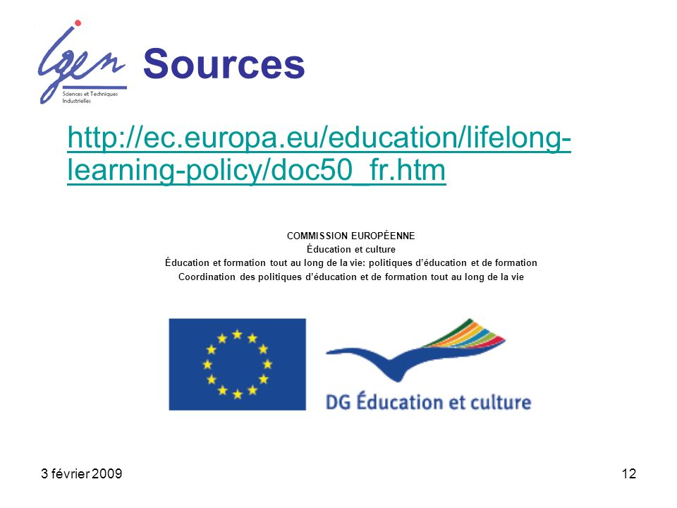 3 février 200912 Sources http://ec.europa.eu/education/lifelong- learning-policy/doc50_fr.htm COMMISSION EUROPÉENNE Éducation et culture Éducation et