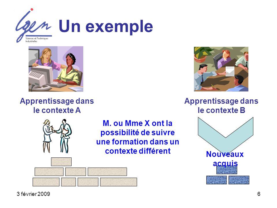 3 février 20096 Un exemple Apprentissage dans le contexte A Apprentissage dans le contexte B M. ou Mme X ont la possibilité de suivre une formation da