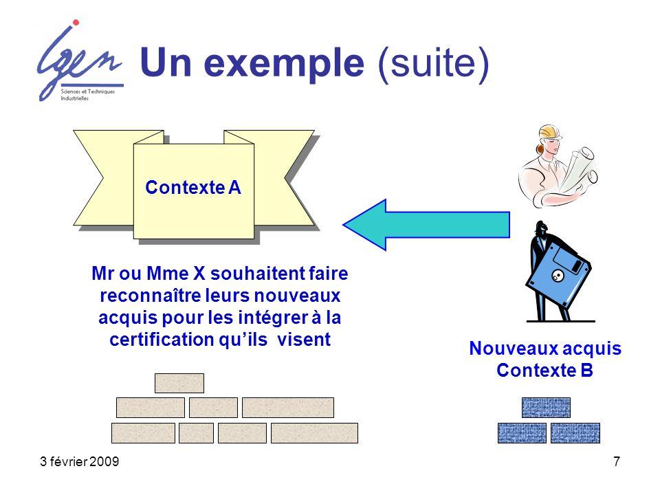 3 février 20097 Un exemple (suite) Mr ou Mme X souhaitent faire reconnaître leurs nouveaux acquis pour les intégrer à la certification quils visent Nouveaux acquis Contexte B Contexte A