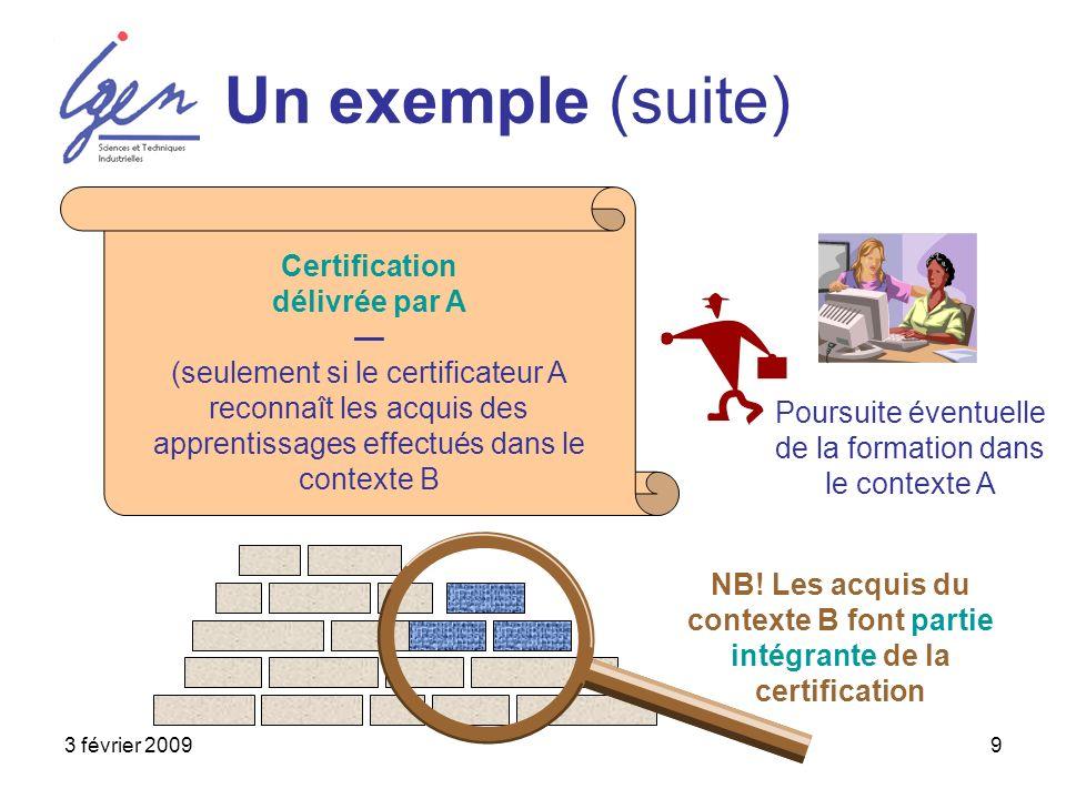 3 février 20099 Un exemple (suite) Poursuite éventuelle de la formation dans le contexte A Certification délivrée par A (seulement si le certificateur A reconnaît les acquis des apprentissages effectués dans le contexte B NB.