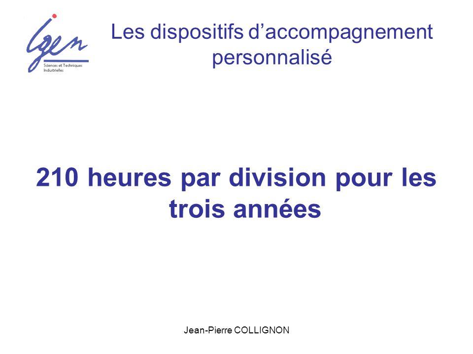 Jean-Pierre COLLIGNON Les dispositifs daccompagnement personnalisé 210 heures par division pour les trois années