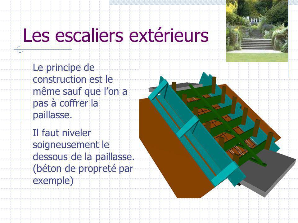 Les escaliers extérieurs Le principe de construction est le même sauf que lon a pas à coffrer la paillasse. Il faut niveler soigneusement le dessous d