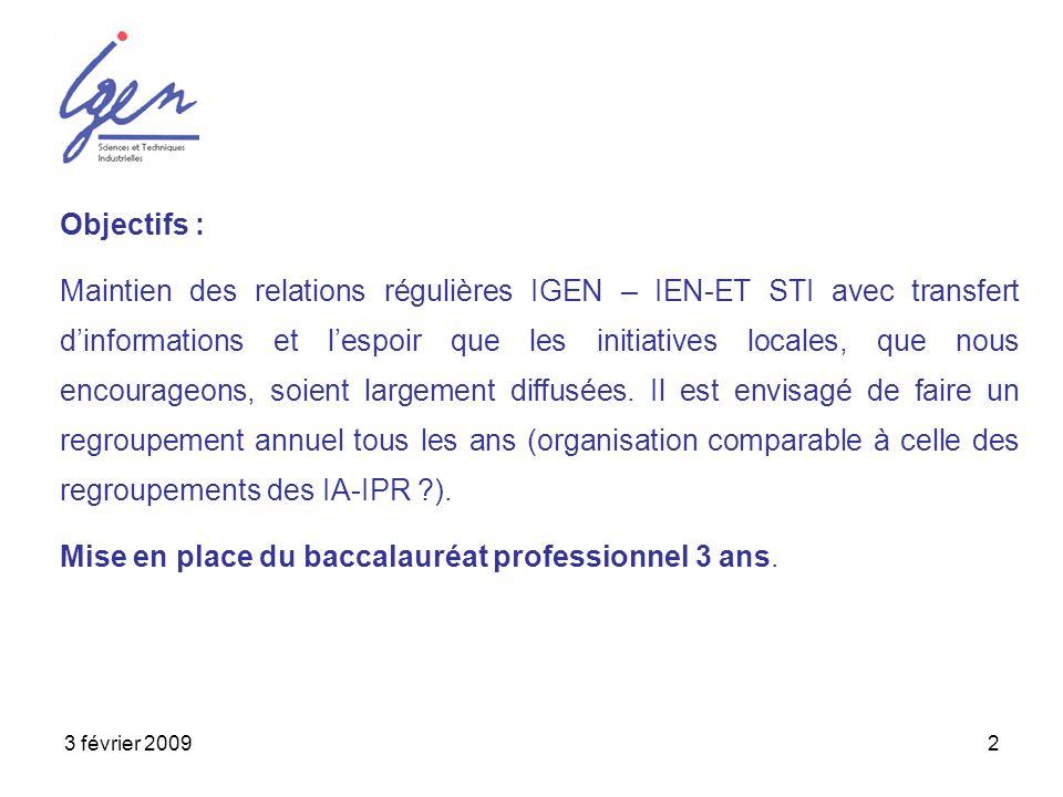 3 février 20092 Objectifs : Maintien des relations régulières IGEN – IEN-ET STI avec transfert dinformations et lespoir que les initiatives locales, q