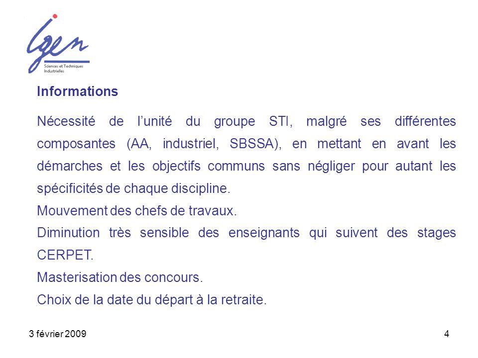 3 février 20094 Informations Nécessité de lunité du groupe STI, malgré ses différentes composantes (AA, industriel, SBSSA), en mettant en avant les dé
