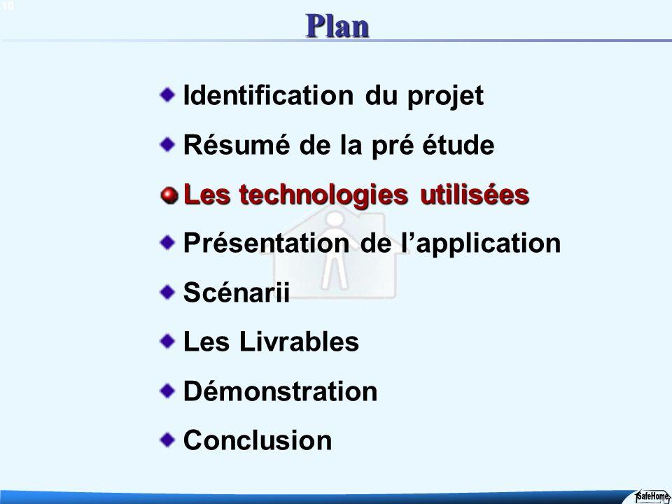 10 Plan Identification du projet Résumé de la pré étude Les technologies utilisées Présentation de lapplication Scénarii Les Livrables Démonstration C