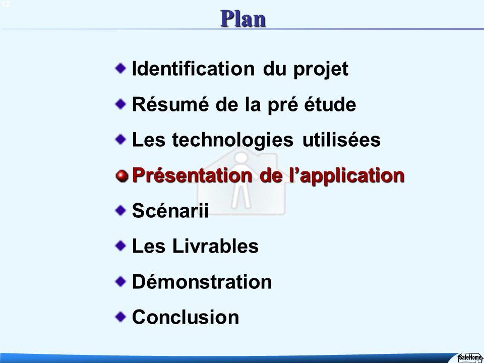 12 Plan Identification du projet Résumé de la pré étude Les technologies utilisées Présentation de lapplication Scénarii Les Livrables Démonstration C