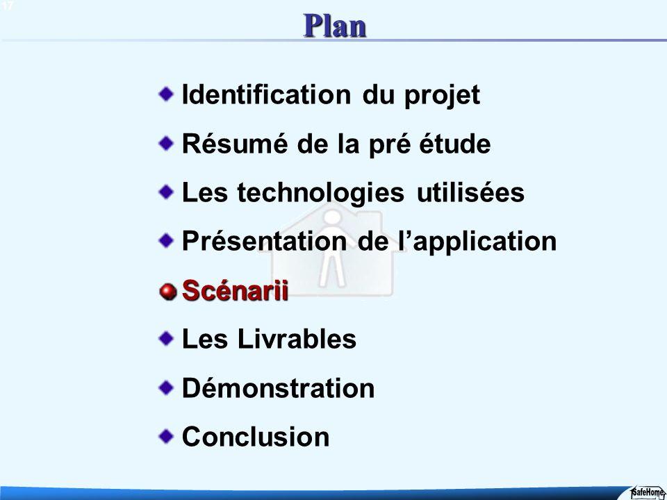 17 Plan Identification du projet Résumé de la pré étude Les technologies utilisées Présentation de lapplicationScénarii Les Livrables Démonstration Co