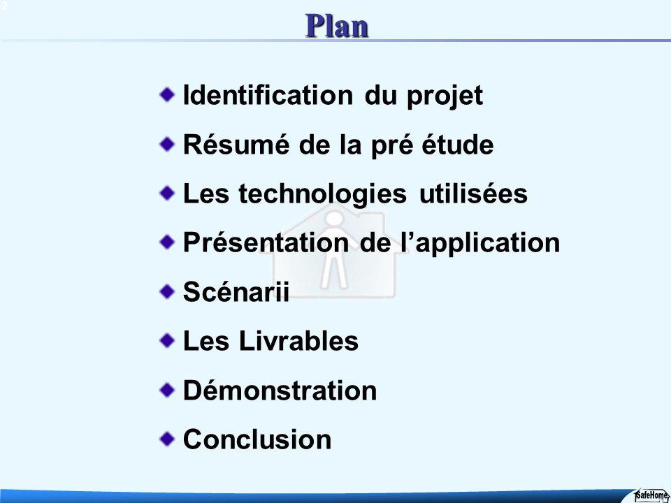 2 Plan Identification du projet Résumé de la pré étude Les technologies utilisées Présentation de lapplication Scénarii Les Livrables Démonstration Co