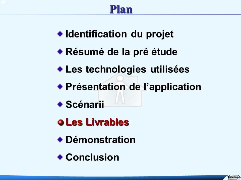 20 Plan Identification du projet Résumé de la pré étude Les technologies utilisées Présentation de lapplication Scénarii Les Livrables Démonstration C