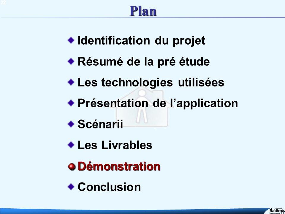 22 Plan Identification du projet Résumé de la pré étude Les technologies utilisées Présentation de lapplication Scénarii Les LivrablesDémonstration Co