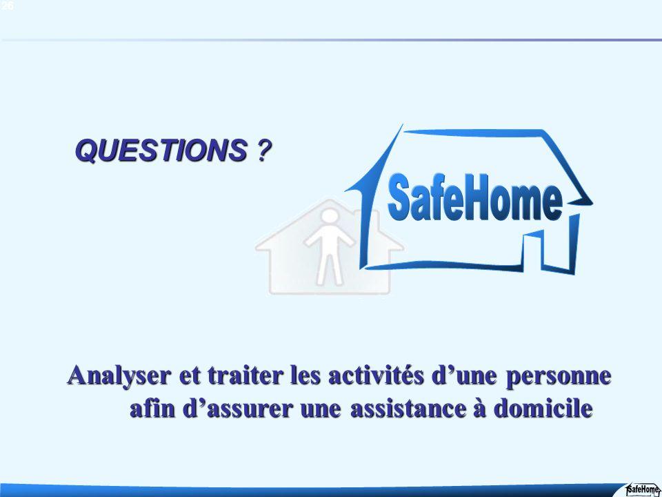 26 QUESTIONS ? ?? ? Analyser et traiter les activités dune personne afin dassurer une assistance à domicile