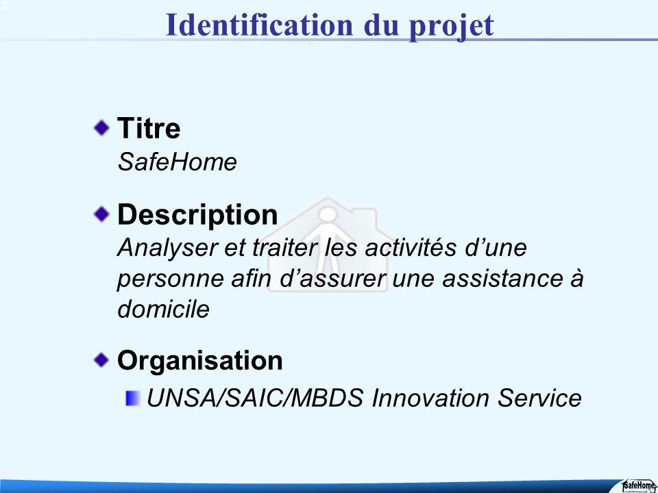 3 Identification du projet Titre SafeHome Description Analyser et traiter les activités dune personne afin dassurer une assistance à domicile Organisa