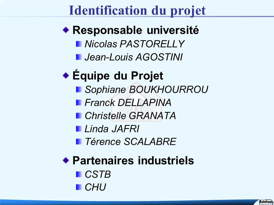 4 Identification du projet Responsable université Nicolas PASTORELLY Jean-Louis AGOSTINI Équipe du Projet Sophiane BOUKHOURROU Franck DELLAPINA Christ