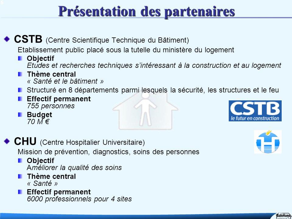 5 Présentation des partenaires CSTB (Centre Scientifique Technique du Bâtiment) Etablissement public placé sous la tutelle du ministère du logement Ob