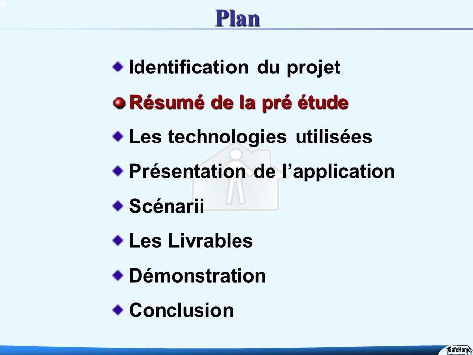 6 Plan Identification du projet Résumé de la pré étude Les technologies utilisées Présentation de lapplication Scénarii Les Livrables Démonstration Co