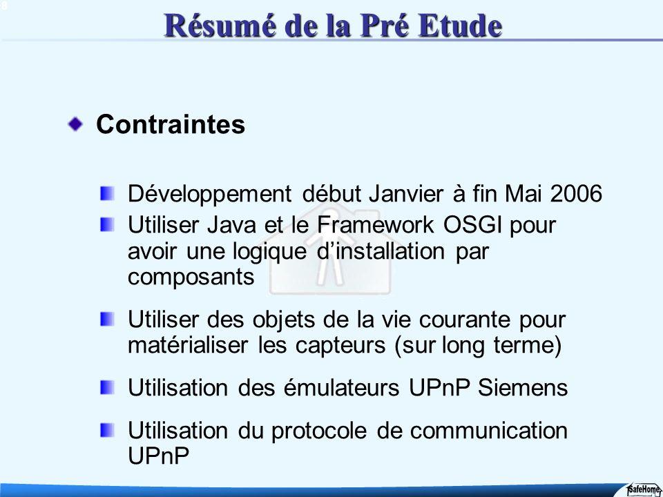 8 Résumé de la Pré Etude Contraintes Développement début Janvier à fin Mai 2006 Utiliser Java et le Framework OSGI pour avoir une logique dinstallatio