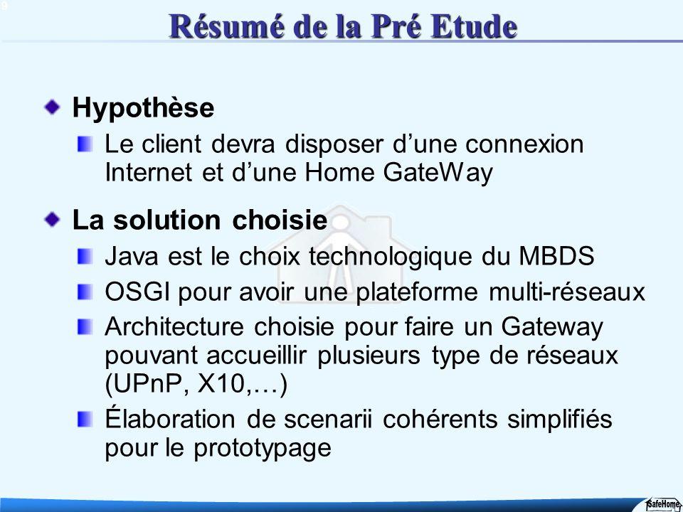 9 Résumé de la Pré Etude Hypothèse Le client devra disposer dune connexion Internet et dune Home GateWay La solution choisie Java est le choix technol