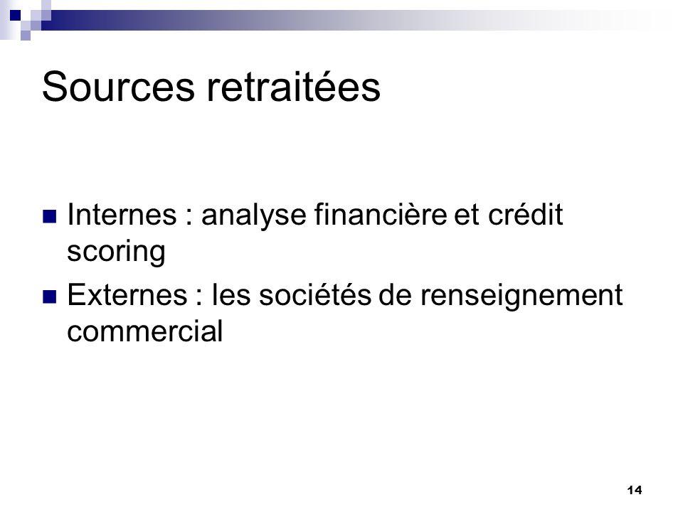 14 Sources retraitées Internes : analyse financière et crédit scoring Externes : les sociétés de renseignement commercial