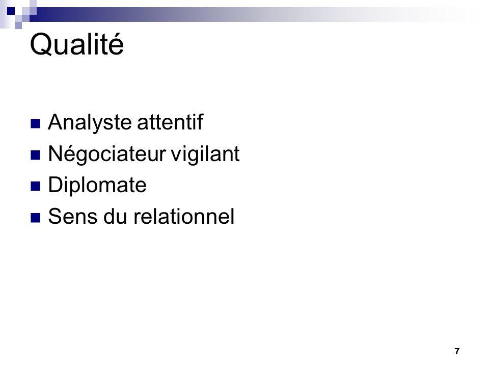 7 Qualité Analyste attentif Négociateur vigilant Diplomate Sens du relationnel