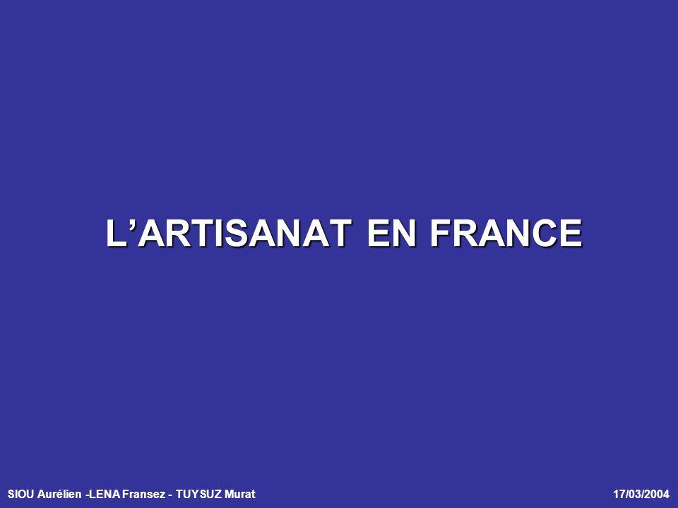 SIOU Aurélien -LENA Fransez - TUYSUZ Murat 17/03/2004 LARTISANAT EN FRANCE