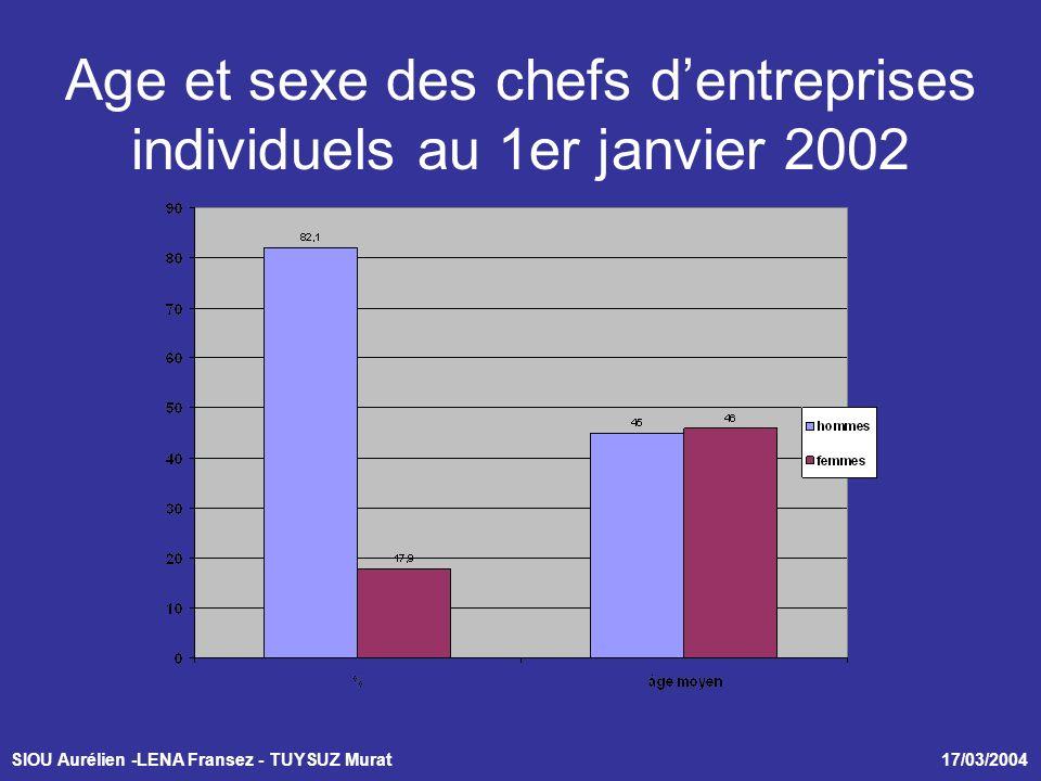 SIOU Aurélien -LENA Fransez - TUYSUZ Murat 17/03/2004 Age et sexe des chefs dentreprises individuels au 1er janvier 2002