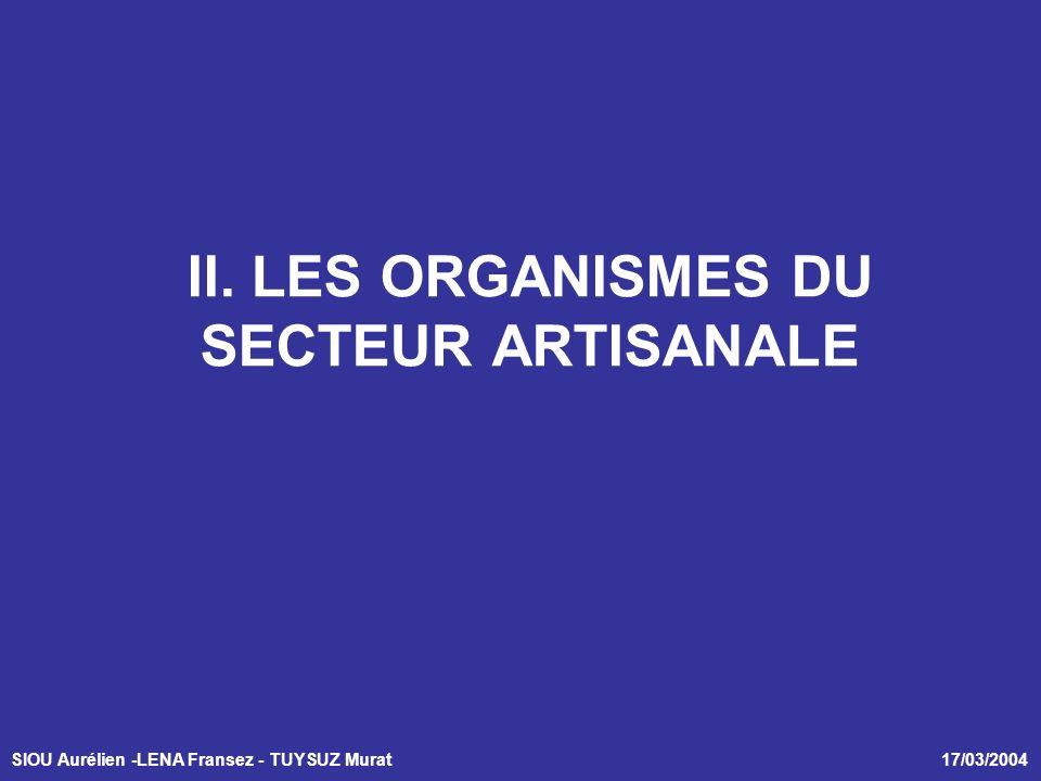 SIOU Aurélien -LENA Fransez - TUYSUZ Murat 17/03/2004 II. LES ORGANISMES DU SECTEUR ARTISANALE