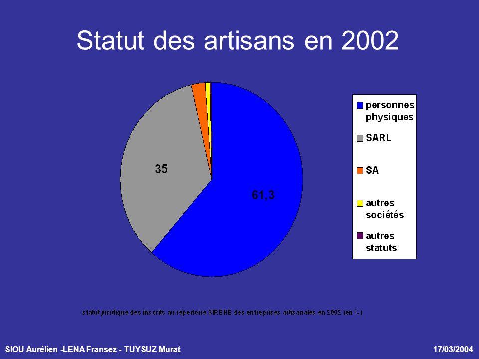 SIOU Aurélien -LENA Fransez - TUYSUZ Murat 17/03/2004 Statut des artisans en 2002