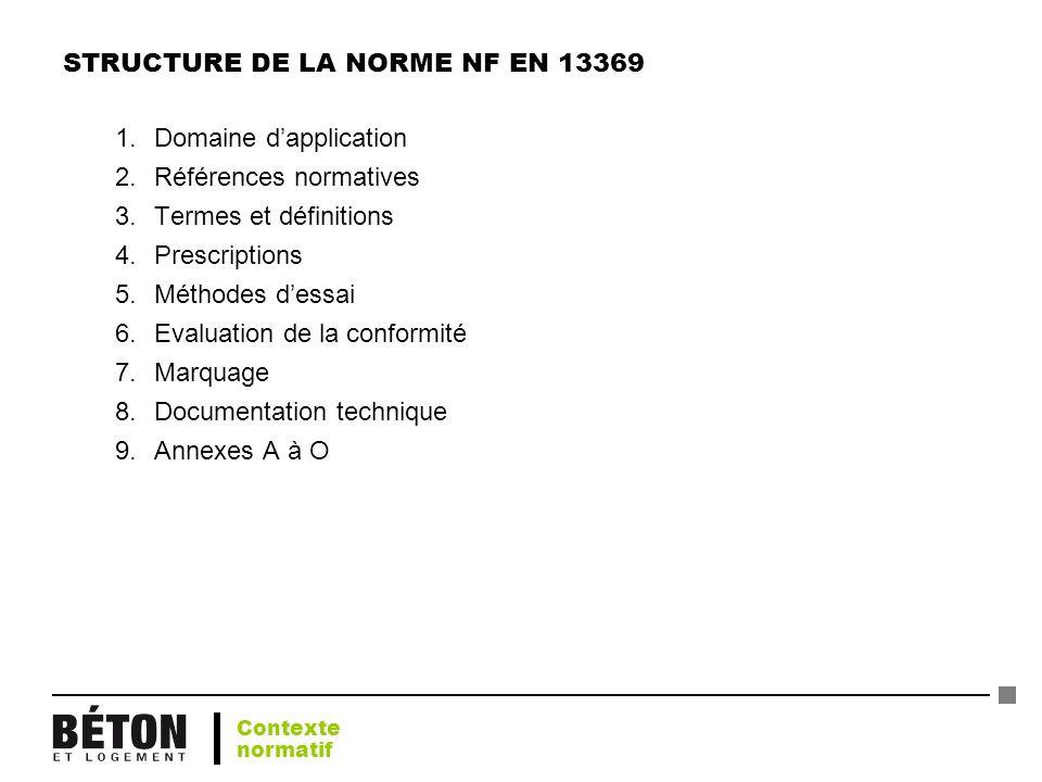 STRUCTURE DE LA NORME NF EN 13369 1.Domaine dapplication 2.Références normatives 3.Termes et définitions 4.Prescriptions 5.Méthodes dessai 6.Evaluatio