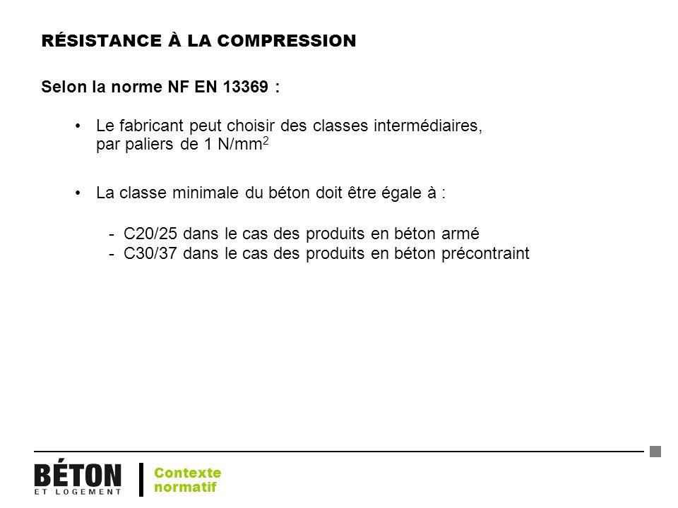 RÉSISTANCE À LA COMPRESSION Selon la norme NF EN 13369 : Le fabricant peut choisir des classes intermédiaires, par paliers de 1 N/mm 2 La classe minim