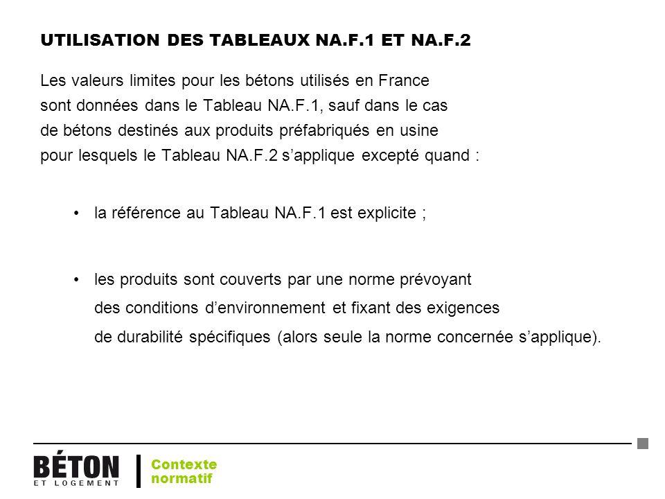 UTILISATION DES TABLEAUX NA.F.1 ET NA.F.2 Les valeurs limites pour les bétons utilisés en France sont données dans le Tableau NA.F.1, sauf dans le cas