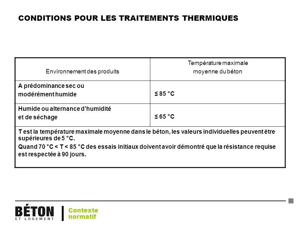 CONDITIONS POUR LES TRAITEMENTS THERMIQUES Environnement des produits Température maximale moyenne du béton A prédominance sec ou modérément humide 85