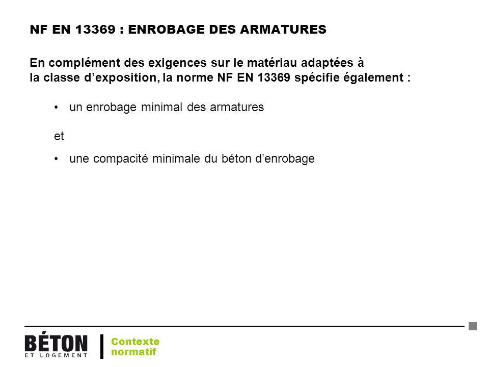 NF EN 13369 : ENROBAGE DES ARMATURES En complément des exigences sur le matériau adaptées à la classe dexposition, la norme NF EN 13369 spécifie égale