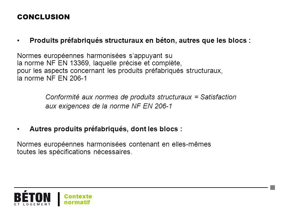 CONCLUSION Produits préfabriqués structuraux en béton, autres que les blocs : Normes européennes harmonisées sappuyant su la norme NF EN 13369, laquel