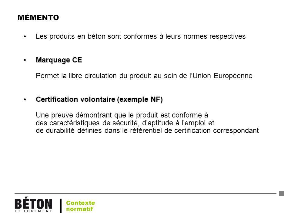 MÉMENTO Les produits en béton sont conformes à leurs normes respectives Marquage CE Marquage CE Permet la libre circulation du produit au sein de lUni