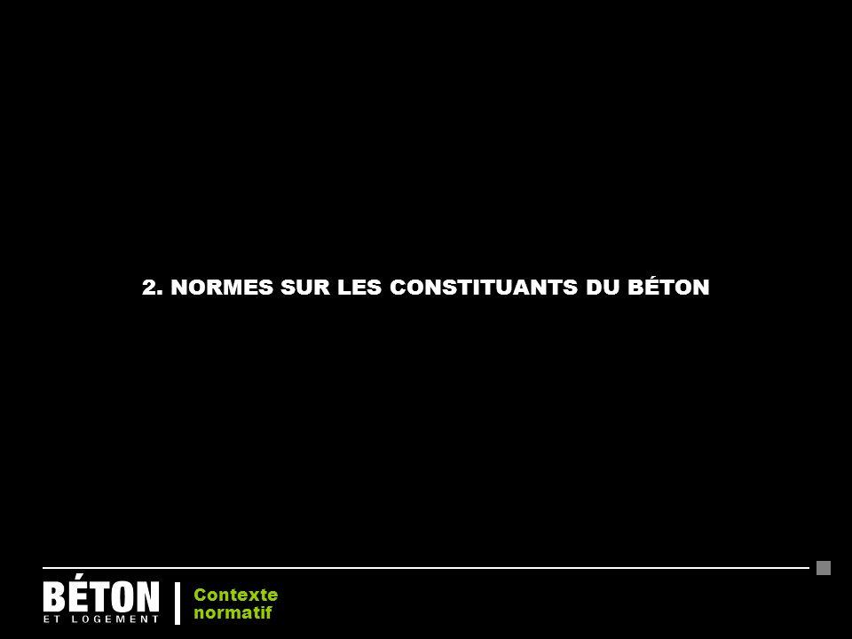 2. NORMES SUR LES CONSTITUANTS DU BÉTON Contexte normatif